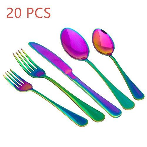 20-Piece Stainless Steel Flatware Set,Tableware Set,Dinnerware Set Service for 4, Include Knife/Fork/Spoon/Teaspoon/Fruit fork (Rainbow (Stainless Steel Tableware Set)
