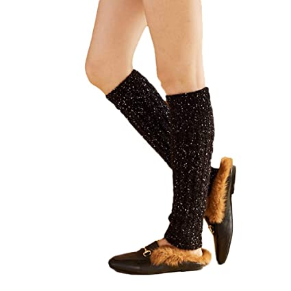3aba81e415e Pausseo 1 Pair Winter Women Adult Junior Ribbed Knitted Leg Warmers Socks  Dotted Twisted Foot Shoe
