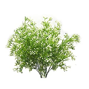 Artificial Fake Flowers Plants, 4pcs Outdoor UV Resistant Faux Green Greenery Fake Plastic Flowers Shrubs Plants Indoor Outside Hanging Planter Home Garden Wedding Décor (White) 1