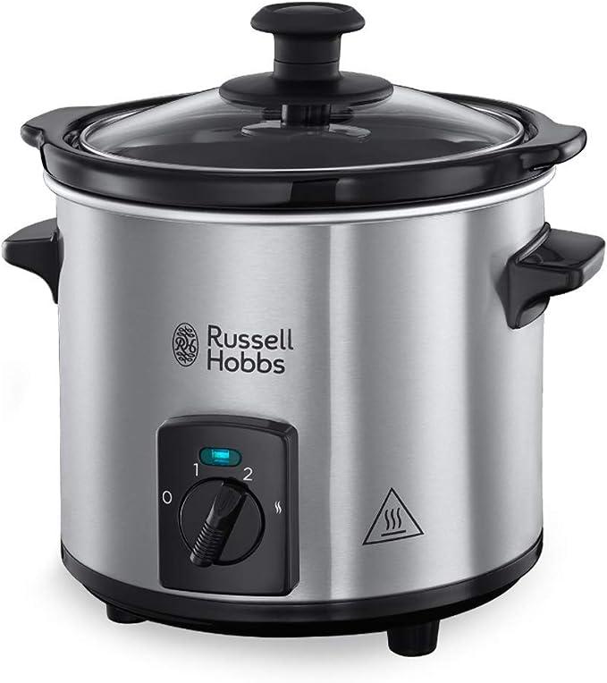 Russell Hobbs Compact Home - Olla de Cocción Lenta Compacta (Olla Baja Temperatura, Acero Inox y Negro, 2l) -ref. 25570-56: Amazon.es: Hogar