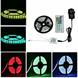 Sunface Waterproof LED Strip Light Kit - 16.4 ft 5M LED Strip 150 Leds SMD 5050 RGB Colour Changing LED Rope Light with 12v3A Power Supply+ 44 Key Remote Controller Suitable for Home and Outdoor Lighting Decora
