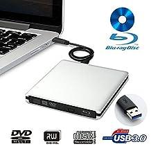 LeaningTech BD-1 Super-BluDrive, External DVD CD Blue-Ray Disc Player Writer Burner and SuperDrive for Mac,Windows, Vista Device, USB 3.0, Aluminum Alloy Shell (Silver)