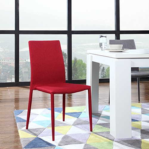 Dining Room Chairs Set of 4, Fabric Chair for Living Room 4 Pieces (Red) by Divano Roma Furniture (Image #1)
