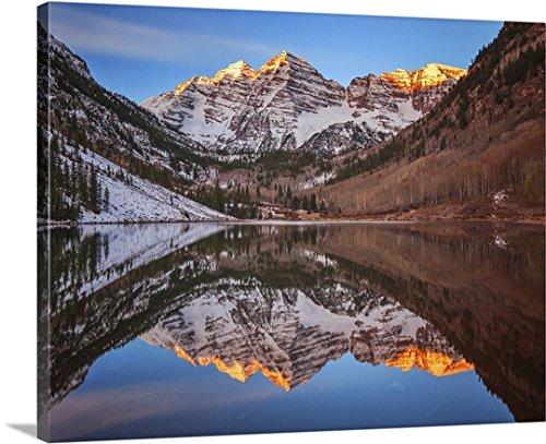 Darren White Gallery-Wrapped Canvas entitled Maroon Bells Alpenglow by greatBIGcanvas