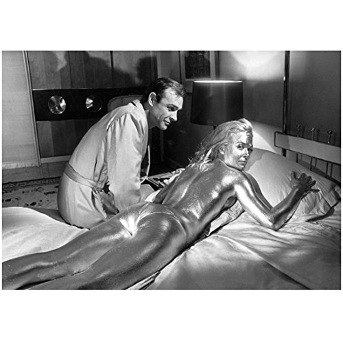 Shirley Eaton 8 inch x 10 inch Photograph Goldfinger Ten Little Indians Carry On Nurse B&W Painted Gold Looking Over Right Shoulder w/Sean Connery Looking On kn (Best Indian Actress Pics)