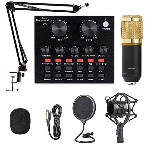 BM-800 Microphone Set with Live Sound Card, Condenser Mic & DJ Mixer with Adjustable Mic Suspension Scissor Arm, Metal Shock Mount & Double-Layer Pop Filter for Studio Recording & Broadcasting