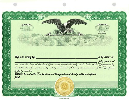 - 100 Green CorpKit Standard Wording Corporation Stock Certificates (Eagle Border)