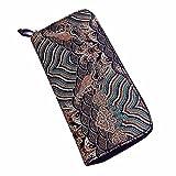 Women Wallet, Han Shi Women National Wind Printing Zipper Coin Purse Long Wallet Card Holders Handbag Flexible Wallet Large Travel Working Purse Pocket (Green)