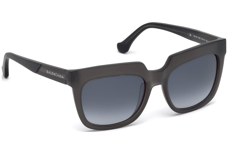 Balenciaga - Ba0068, Rechteckig, Acetat, Damenbrillen, Matte Dark Grey/grey Blue Shaded(20b F), 55/18/140