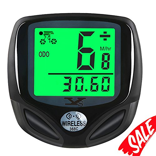 Bike Speedometer Waterproof Wireless Bicycle Bike Computer and Cycling Odometer with Automatic Wake-up Multi-Function LCD Backlight Display
