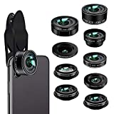 Phone Camera Lens Kit,9 in 1 Kaiess Super Wide Angle+ Macro+ Fisheye Lens +Telephoto+ CPL+Kaleidoscope+Starburst Lens for iPhone X/8/7/6s/6 Plus, Samsung,Android Smartphones(Matte Black)