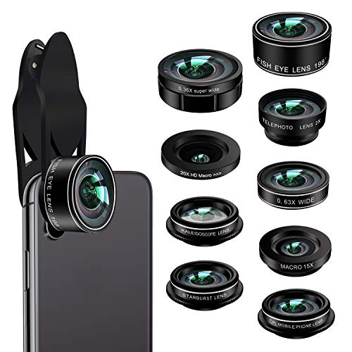 Phone Camera Lens Kit,9 in 1 Kaiess Super Wide Angle+ Macro+ Fisheye Lens +Telephoto+ CPL+Kaleidoscope+Starburst Lens for iPhone X/8/7/6s/6 Plus, Samsung,Android Smartphones(Matte Black) by Kaiess