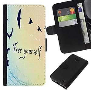 KLONGSHOP // Tirón de la caja Cartera de cuero con ranuras para tarjetas - Cita Birds Azul Luz Colores - LG OPTIMUS L90 //