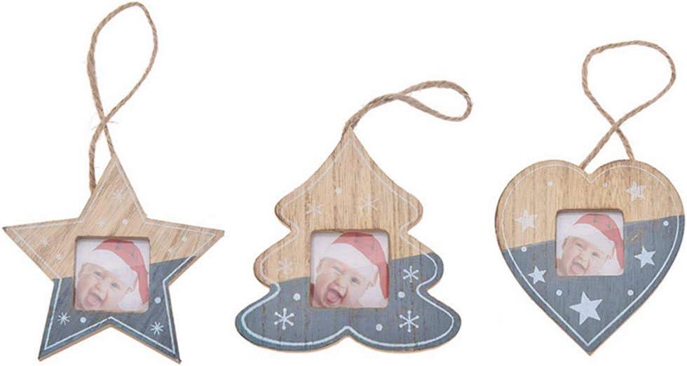 Pveath Colgante de Madera de Navidad Marco de Fotos Colgante Rojo/Gris Árbol de Navidad Adornos de corazón de Estrella Decoraciones navideñas Decoración Colgante para árbol de Navidad Decoración Grey