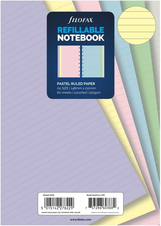 Filofax B152018 Notebook Refill Ruled Paper A5 Size Pastel Colors
