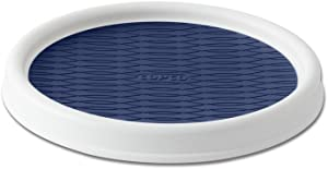 Copco 5224644 Non-Skid Pantry Cabinet Lazy Susan Turntable, 9-Inch, White/Blue