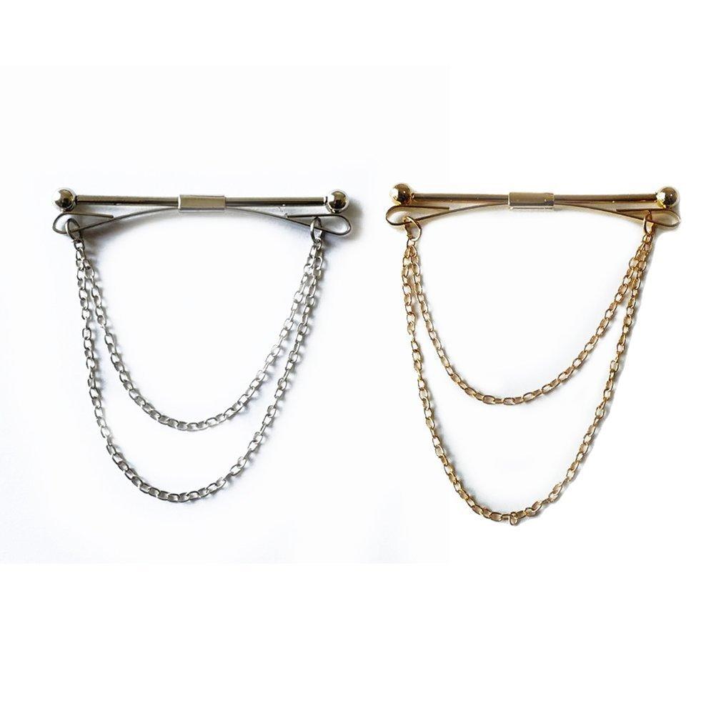 a9a8c4067620 ultnice cuello pines hombres de cuello Pin cuello Bar con cadena (Golden +  plata) 2pcs  Amazon.es  Hogar