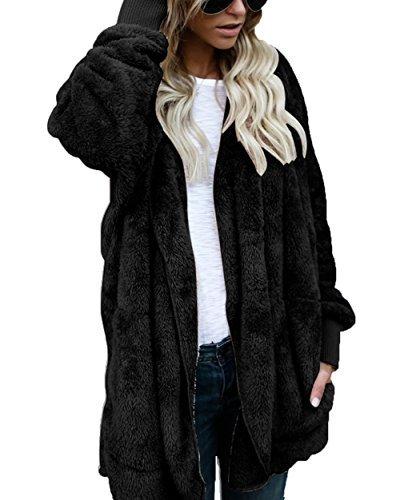 FOUNDO Womens Fuzzy Open Front Hooded Cardigan Jacket Coat Outwear With Pocket Black (Open Front Hooded Cardigan)