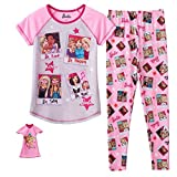 Barbie Pajamas for Girls Pants Shirt and Doll Night Gown Set 3 Piece (10)