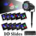 Halloween Lights - Projection Light with 10 Rotating Multicolor Slides - Halloween Decor - Waterproof Lighting Gobo Spotlight Lawn Lights Garden Path Party Easter Holiday Christmas Projection