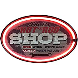 "Dad's Hot Rod Shop With Arrow Sign, LED Light Rope With Neon Like Effect, 16"" Oval Shaped Design, Powered By Batteries Or Plug-In, Ready To Hang In Home, Bar, Garage, Or Man Cave"