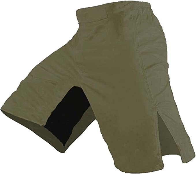 SIZE 36 BLANK OD GREEN AND KHAKI MILITARY STYLE FIGHT SHORTS