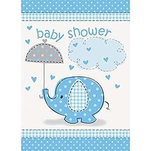 Unique Party - Invitaciones para Fiesta - Baby Shower con Elefante Azul - Paquete de 8 (41714)
