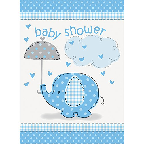 Blue Elephant Boy Baby Shower Invitations, 8ct (Baby Shower Umbrella Invitation)