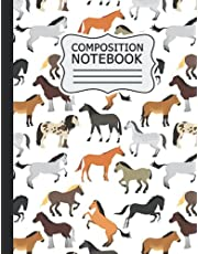 horse Composition Notebook: horse Theme / Wide Ruled Notebook Paper for Kids / Large Writing Journal for Homework - Notes - Doodles ... Back to School for Boys Girls Children .