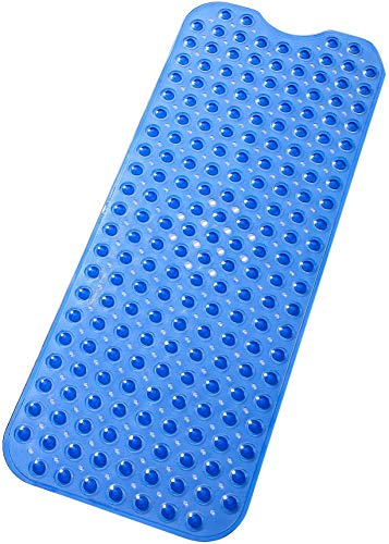 tike smart Extra-Long Non-Slip Bathtub Mat 39″x16″(for Smooth/Non-Textured Tubs Only) Safe,Clean,Anti-Bacterial,Machine-Washable,Superior Grip&Drainage, Vinyl Bath Mat, Transparent Blue