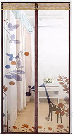 Giow Puerta de Pantalla magnética para la Puerta corredera Sala de Estar Habitación para niños, Resistente y Duradera, Mantenga alejados a los Insectos | Se admiten Mascotas, marrón, 90 * 220 cm: Amazon.es: Hogar