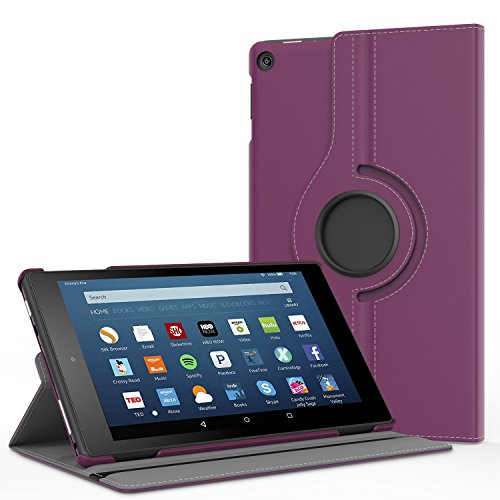 (MoKo Case for All-New Fire HD 8 2018/2017/2016-360 Degree Rotating Cover with Auto Wake/Sleep for Amazon Fire HD 8 (8th & 7th & 6th Gen, 2018/2017/2016 Release) 8