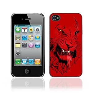 Designer Depo Hard Protection Case for Apple iPhone 4 4S / Angry Red Lion Tiger Cat