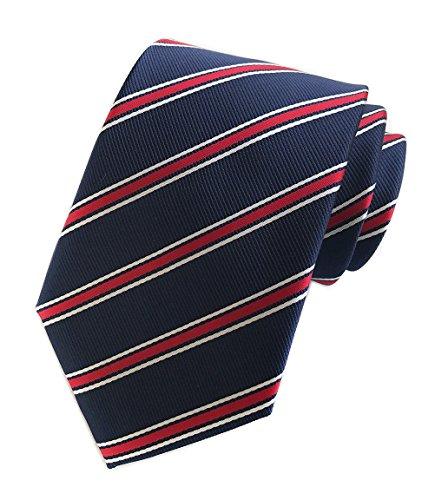 Men's Repp Navy Blue Red White Fine Striped Silk Tie Daily Dress Meeting Necktie (Red Fine Stripe)