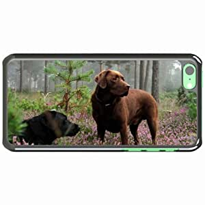 iPhone 5C Black Hardshell Case dogs meadow grass flowers rest Desin Images Protector Back Cover
