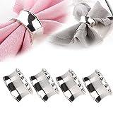 YaYiYo 4pcs Stainless Steel Napkin Rings Holder for Parties Weddings Hotel Supplies Diameter 4.5cm