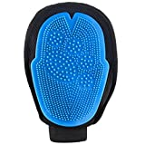 MOSTY Pet Grooming Glove 2-in-1, Grooming Tool + Furniture Pet Hair Remover Mitt Dual Sided Rubber Tips Soft Deshedding Grooming Massage Glove Brush for Big Small Dog Cat with Long Short Hair, Blue