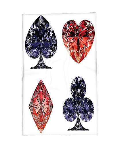 Interestlee Fleece Throw Blanket Diamond Decor Collection Diamond Shaped Cards Poker Face Luxury Fortune Symbols Sapphire Decorative Decor Dark Blue Red