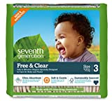 Seventh Generation Baby Diapers, Free and Clear for Sensitive Skin, Original Unprinted, Size 3, 155 Count
