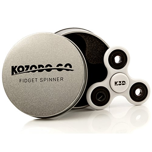 Fidget Spinner X10 - Premium Finish - Si3N4 Hybrid Ceramic High Speed Bearings Non-3D Printed (White) Tri Spinner Focus Tool - USA Prime