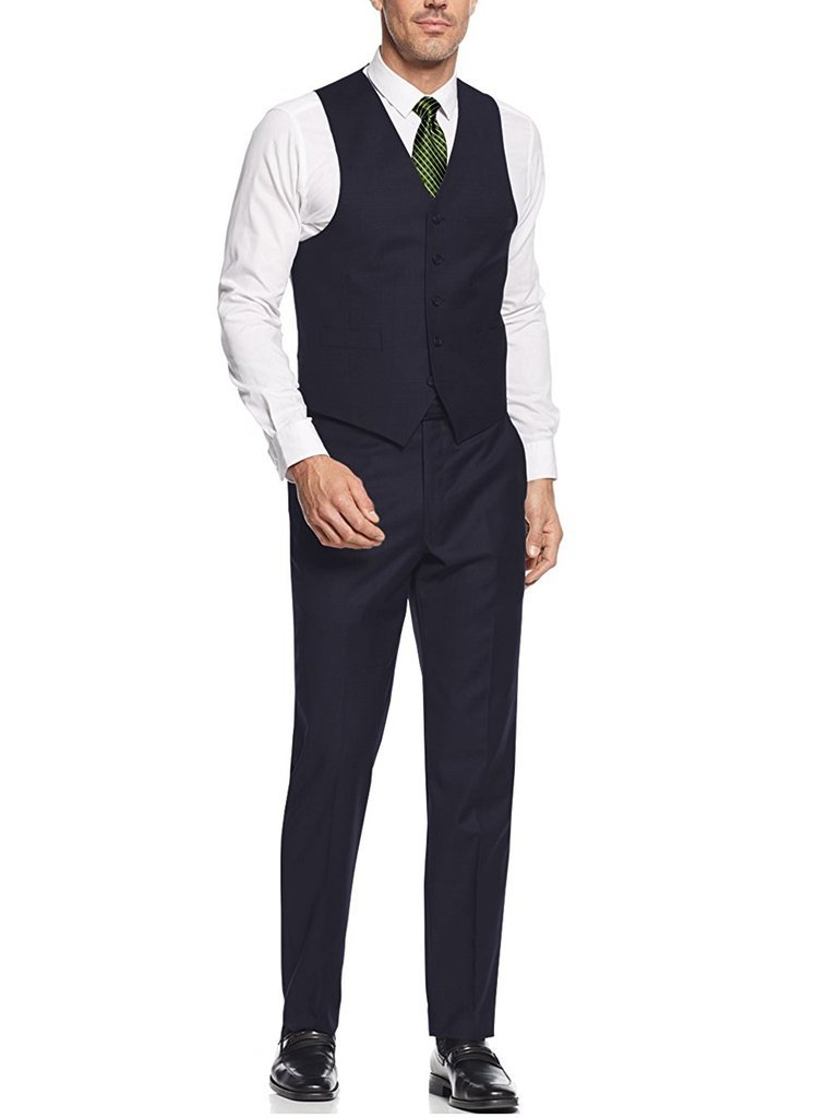Caravelli Men's 60503 3-Piece Single Breasted Slim Fit Vested Suit. Navy - 42L by Caravelli (Image #3)