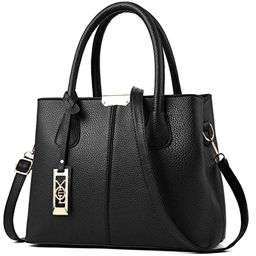 - Pebble Leather Satchel Handbag Purse for Women Ladies Medium Quilted Shoulder Tote Bag - Black