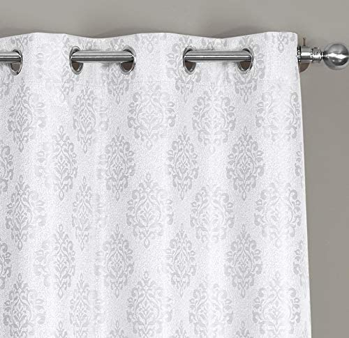 Royal Hotel Paisley Jacquard White, Top Grommet Blackout Window Curtain Panels, Pair Set of 2 Panels, 36×108 inches Each