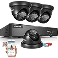 Annke 8CH 720P HD-TVI Security DVR Recorder System and (4) 1280TVL Outdoor Fixed Dome Cameras with IP66 Weatherproof Day/Night Vision, Motion Detection & Email Alert