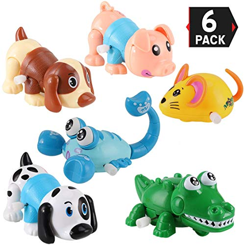 Wind Up Toys (6 Pack Big Wind Up Cartoon Animals for Kids Party Favors Carnival Prizes Classroom Goody Bag Fillers (Includes Pig, Mouse, Dog, Scorpion, Crocodile,)
