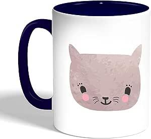 كوب سيراميك للقهوة happy cat بتصميم قطة سعيدة، لون ازرق