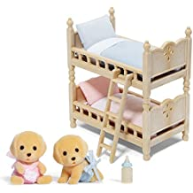 Calico Critters Yellow Lab Twin Babies with Bunk Beds