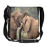 Lovebbag Two Wild Savanna Elephants Wrestling Cute Nature Icons South African Animals Crossbody Messenger Bag
