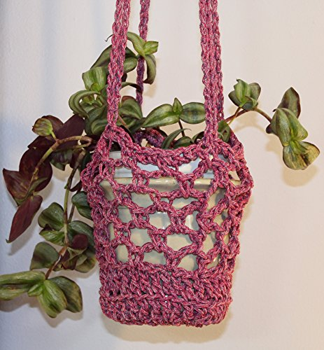 Handmade Crochet Plant Hanger in Pink for Indoor or Outdoor Use