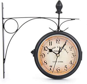 shihao159 tailiu Gentral Station Retro Garden Home Decoration Vintage Double Sided Wall Clock Metal Clock Bracket Outside(Black)